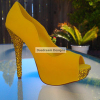 Yellow Peep Toe Bling Pump by DaedreamDesigns on Etsy