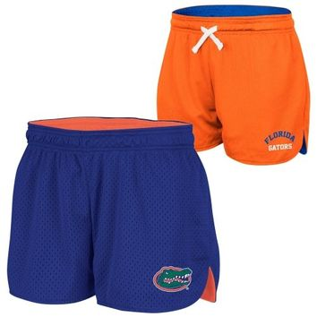 Florida Gators Ladies Twist Mesh Reversible Shorts - Royal Blue/Orange