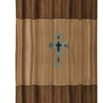 Cowgirl Kim~ Turquoise Cross Shower Curtain