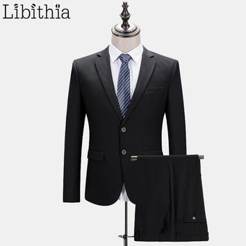 Men Formal Suits With Pants Wedding Suits Slim Fit One Button and Two Buttons Blazer Suits Ternos Masculino Classical Black E554