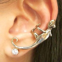 3D Small Realistic Iguana Chameleon Lizard Animal Ear Cuff in Silver
