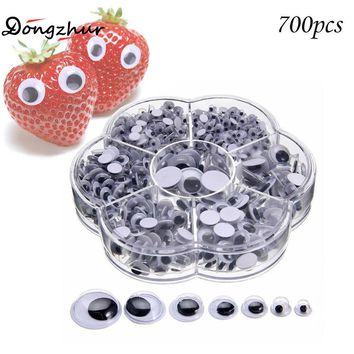 700PCS 4-12mm Wiggly Wobbly Googly Eyes Self-adhesive Scrapbooking Crafts Mixed Kids DIY WWP5356