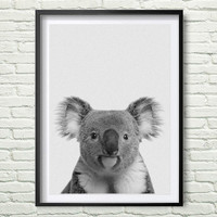 Koala Print, Black and White Animal Wall Art, Koala Bear Print, Grey and White Nursery Decor, Australian Gift *47*