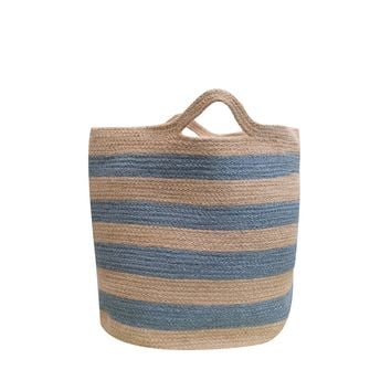 Large Blue Striped Jute Basket