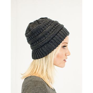 Unisex Soft Stretch Knit Slouchy Beanie (Two Toned- Navy/Gray)