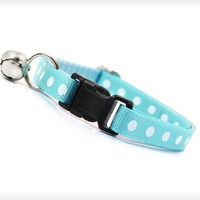 "Cat Collar - ""Baby Blue"" - Light Blue / Aqua with White Dots"