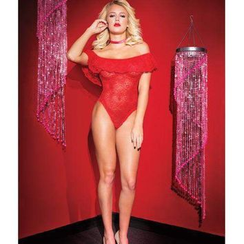 Coquette Valentine Stretch Lace Off the Shoulder Ruffle Teddy