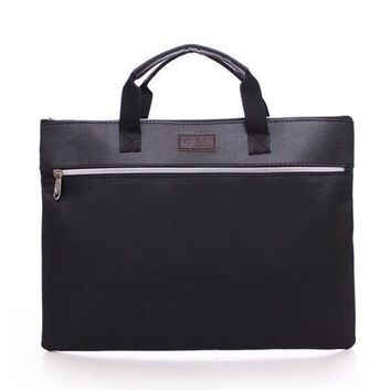 A4 PU Leather Tote File Folder Luxury Business Document Bag Filing Meeting Handbag Zipper Layer Pocket Office Briefcase Supplies