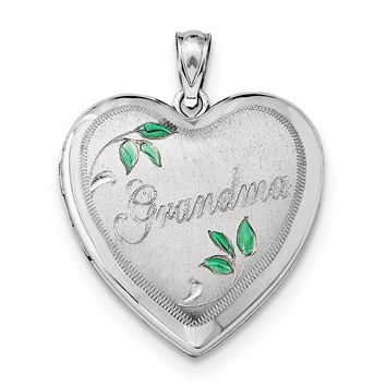 Sterling Silver Rhodium-plated 24mm Grandma Heart Locket QLS412