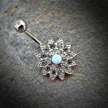 Flower Sparkly Crystal  14ga Opal Belly Ring Navel Ring Body Jewelry Piercing Surgical Steel