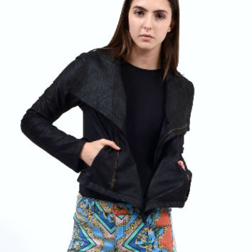 Perforated Faux Leather Moto Jacket (Small/Indie Brands)