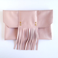 Copacabana - Blush fringe clutch. Light pink Italian Lambskin. Gold pyramid studs. Bohemian Boho Chic Clutch. Free US Shipping.