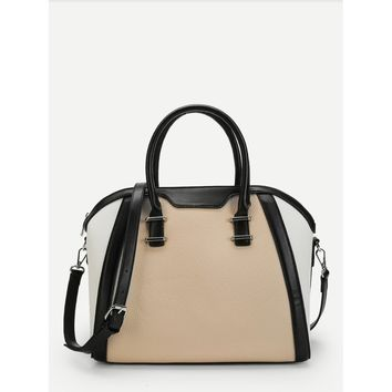 Spliced Shoulder Bag With Convertible Strap