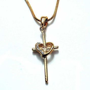 Jerusalem Gold Plated Cross And Heart  Handmade  crystal stones  Necklace pendant ! Beauty  jewelry Gift Idea !