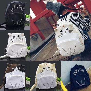 Super Kawaii Cute Lovely Cat Pattern Unisex Backpack Schoolbag Cartoon Travel Bag Girls Backpack Ladies Satchel Rucksack