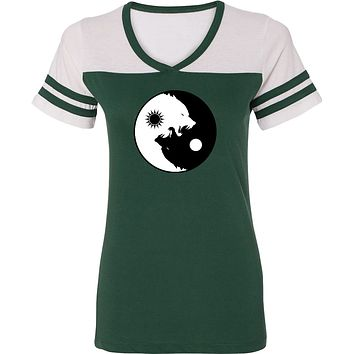Yoga Clothing For You Yin Yang Wolves Powder Puff Yoga Tee Shirt
