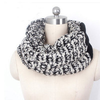Winter Neck Warmer Knit infinity Scarf with White Green Red