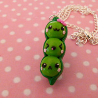 Kawaii peas in a pod polymer clay necklace