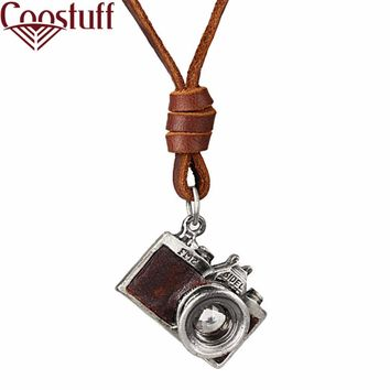 Men Camera Leather Necklace