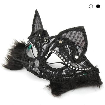 Lace Animal Cat Mask For Party - Half Face