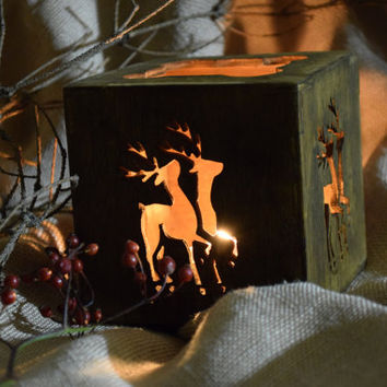 Christmas candle holder-CHRISTMAS GIFT-Wood deer centerpiece-Rustic-reindeer Tealight-holders-candle holders-Xmas decoration-candlestick