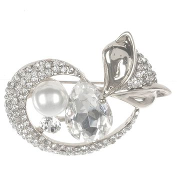 White Pave Crystal Stone Metal Fox Pin And Brooch