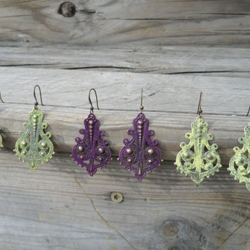 Colorful Rustic Earrings, Vintage Inspired Chandelier Earrings, Shabby Chic Dangle Earrings