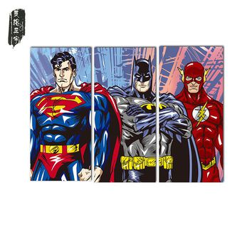 3PCS Superman Batman Wall Oil Painting Poster Christmas decorative painting Canvas paintings Art Wall Pictures for Living Room