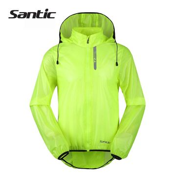 Santic Waterproof Cycling Jacket Raincoat UPF30+ Windproof Breathable Bicycle Bike Rain Jacket Hooded Green Men Cycle Jacket