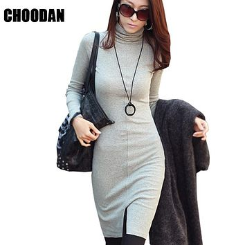 Turtleneck Women Dress Long Sleeve Autumn Winter Fashion 2017 New Korean Style High Waist Bodycon Dresses Basic Womens Clothing