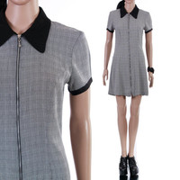 90s Plaid Collared Gray Black White Short Mini Preppy Goth Grunge Summer Dress Zipper Front Vintage Clothing Womens Size Small