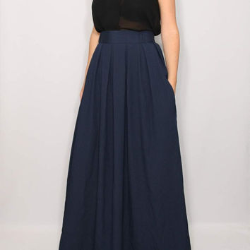 Maxi skirt High waisted skirt Navy skirt with pockets