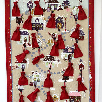Advent Calendar Quilted Wall Hanging, Houses, Red Beige, Felt Treat Bags, Children Activity Calendar, Quiltsy Handmade