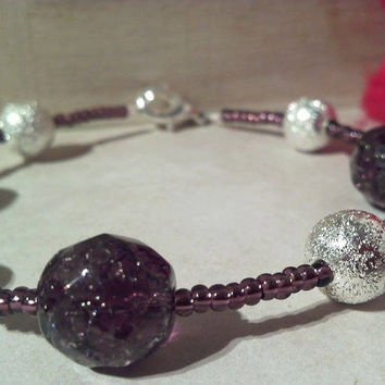 Silver Stardust and Amethyst Czech Glass Fire Polished Beaded Bracelet