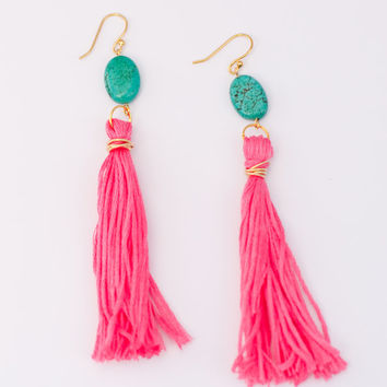 Turquoise and Neon Pink Tassel Statement Dangle Earrings