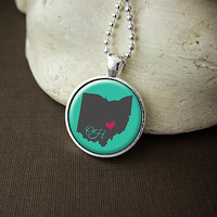 Ohio State Necklace, Love Ohio Pendant, US OH State Pendant Necklace Jewelry