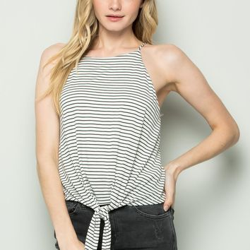 Summer Staple Cropped Tank - Black