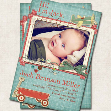 Baby Boy Birth Announcement Thank You, Shower, red wagon, airplane, old fashioned, Digital File