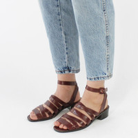 Vintage 90s Brown Leather Strappy Sandals with Low Heel | 8