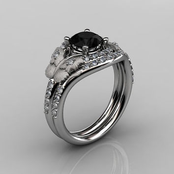 14KT White Gold Diamond Butterfly and Vine Black Diamond Wedding Ring,Engagement Ring NN117SS-14KWGDBD Nature Inspired Jewelry