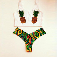 Summer Vest Pineapple Swimsuit Bikini Set Sports Tank Top Gift