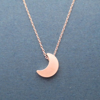 Beautiful, Pink Gold, Rose Gold, Crescent, Moon, Necklace, Gift, Jewelry