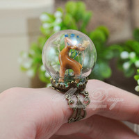 Cute Tiny Deer Ring, Unique Glass Ball Adjustable Ring With Lovely 3D Deer And Real Gypsophila Flower.Crystal Ball Ring,