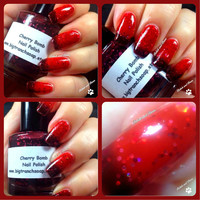Color Changing Nail Polish - Mood Nail Polish - Glitter - CHERRY BOMB - Custom Blended Polish/Lacquer - 0.5 oz Full Sized Bottle