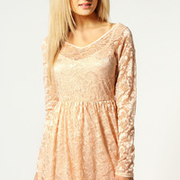 Lucy V-Neck Long Sleeve Lace Skater Dress