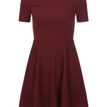 Teens Burgundy Bardot Skater Dress