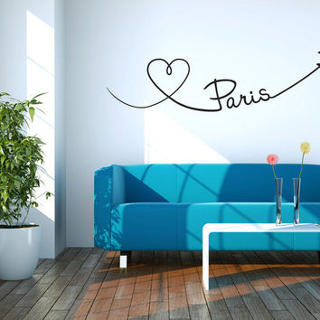 Paris Heart Vinyl Wall Words Decal Sticker
