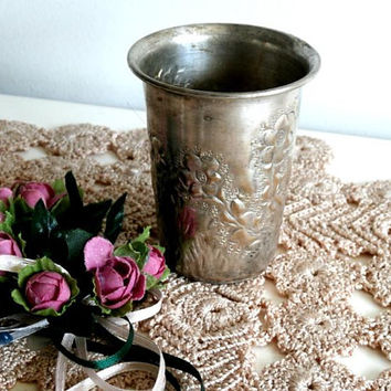 Antique Silverplate Goblet, Kiddush Cup, Vintage, Traditional  Wine Cup, Gift for him. Wedding Gift Idea