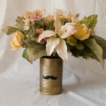Steampunk Mustaches Gold Bronze Rustic Themed Wedding Centerpieces Vases Tin Cans Upcycled