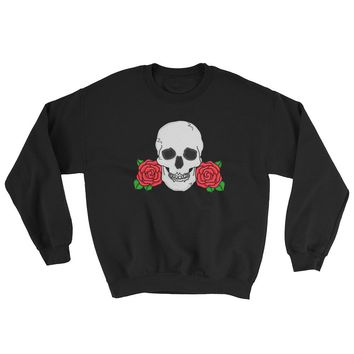 Skull and Rose Crewneck Sweatshirt Black